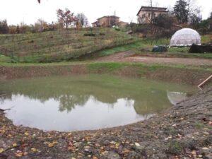 Laghetto per la conservazione dell'acqua piovana nella sede di Salsomaggiore